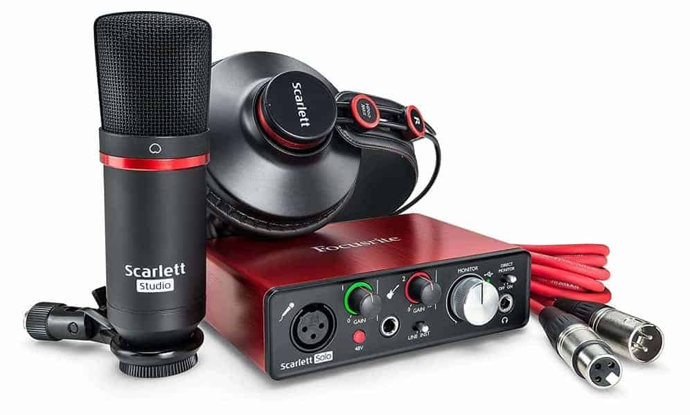 Focusrite Scarlett Solo Studio (2nd Gen) USB Audio Interface and-Recording Bundle with Pro Tools - Home Recording Studio Package Kit