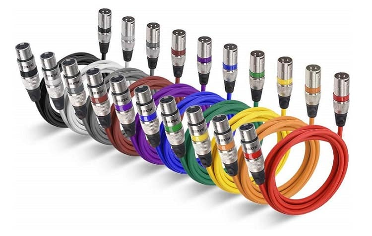 EBXYA 10 Feet XLR Cable 10 Color Packs - Balanced XLR Male to Female Audio Cords for Microphone Speaker