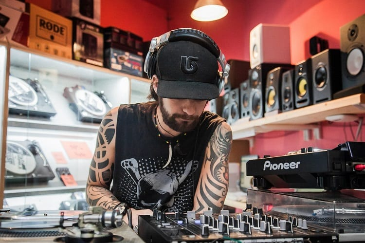 Man In DJ Equipment Store